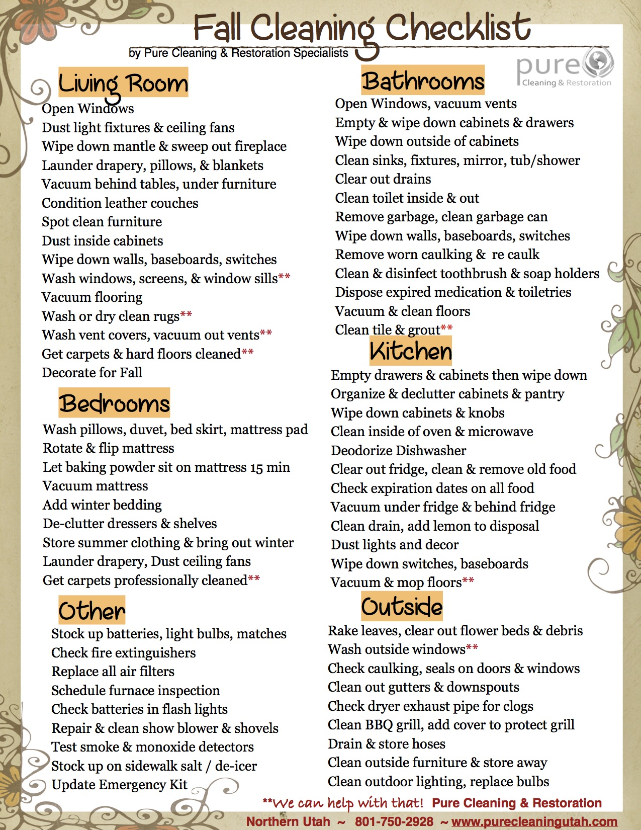 Fall Cleaning Checklist Utah